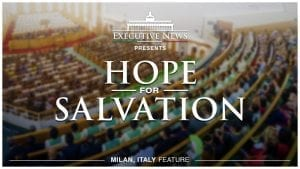"""Title Text """"Hope for Salvation"""" overlay on a photo of Milan Iglesia Ni Cristo Worship Service"""