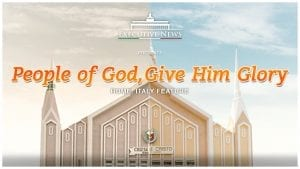 """Title Text """"People of God, Give Him Glory"""" overlay with the Iglesia Ni Cristo chapel in Rome, Italy"""