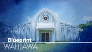 A facade of a chapel under blue skies with the text Blueprint Wahiawa Hawaii.