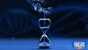 DNA and artificial hand with an hourglass.