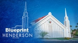 The facade of a worship building with text Blueprint Henderson Nevada.