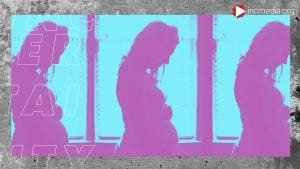A repeating image of a silhouette pregnant woman.