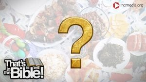 spread of different dishes with a gold question mark