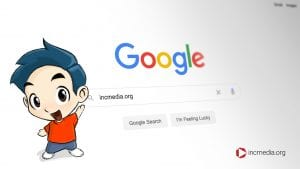 google search bar with incmedia.org typed out