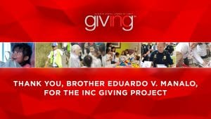 """6 pictures of people helping the community with text below: """"Thank you, Brother V. Manalo, for the INC Giving Project"""""""