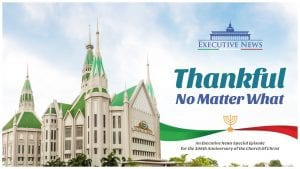 """Iglesia Ni Cristo, Church Of Christ Local of Central with blue sky background and overlay text: """"Executive News - Thankful No Matter What"""""""