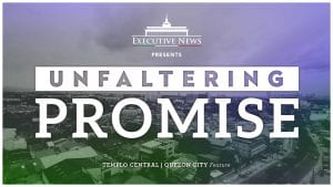 text of unfaltering promise over modern city