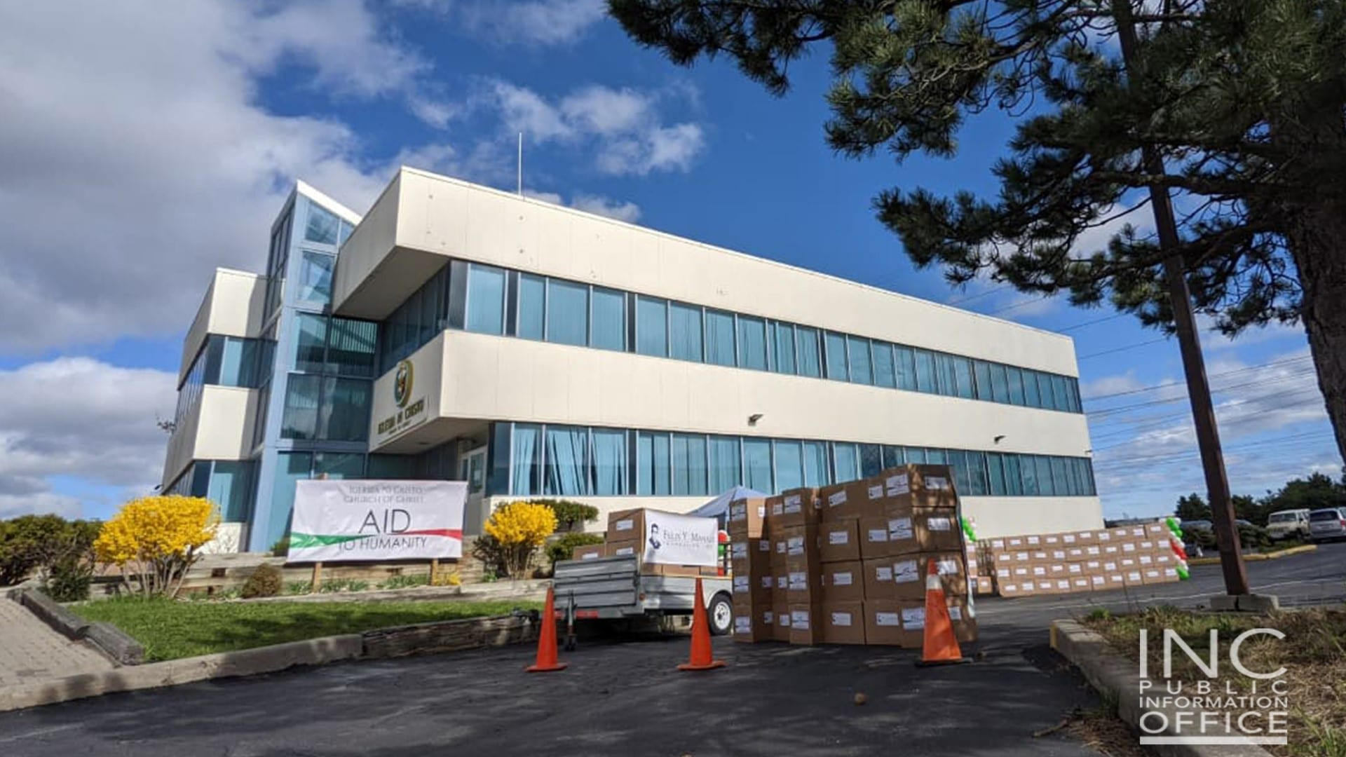 312 boxes of food donations for 5n2 Kitchens are arranged by Iglesia Ni Cristo (INC) or Church Of Christ Volunteers outside the INC's Greater Toronto District Office at an Aid To Humanity Event