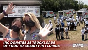 On the left, two women smiling and waving with masks; on the right, a group of people stand a pose with trucks filled with boxes for a drone shot