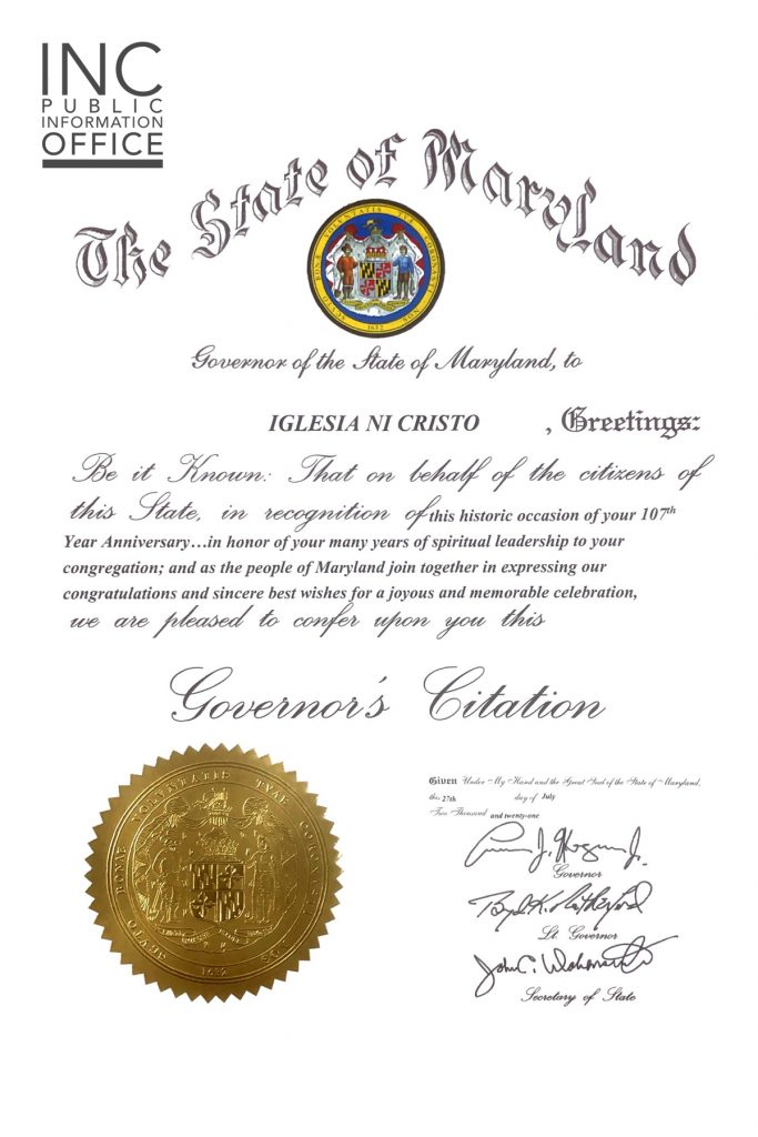 Governor's Citation to the Iglesia Ni Cristo (INC) or Church Of Christ, given by Maryland Governor Lawrence J. Hogan.
