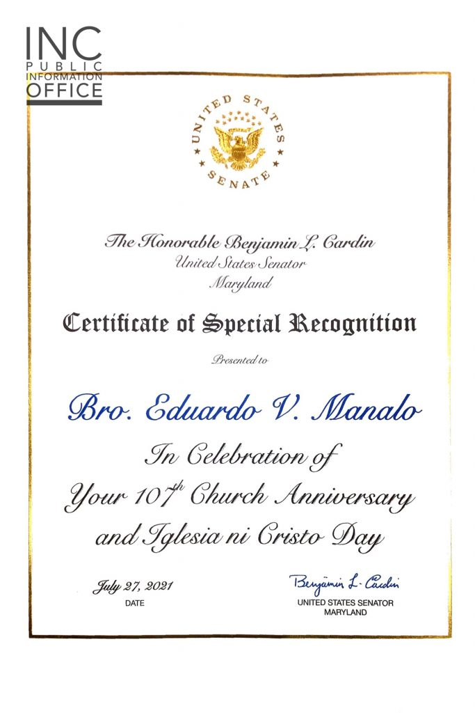 Certificate of Special Recognition from United States Senator Benjamin L. Cardin, given to INC Executive Minister, Brother Eduardo V. Manalo.