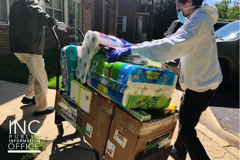 Basic donations on cart being donated to healthcare facilities during Aid to Humanity event, held in May 2020.