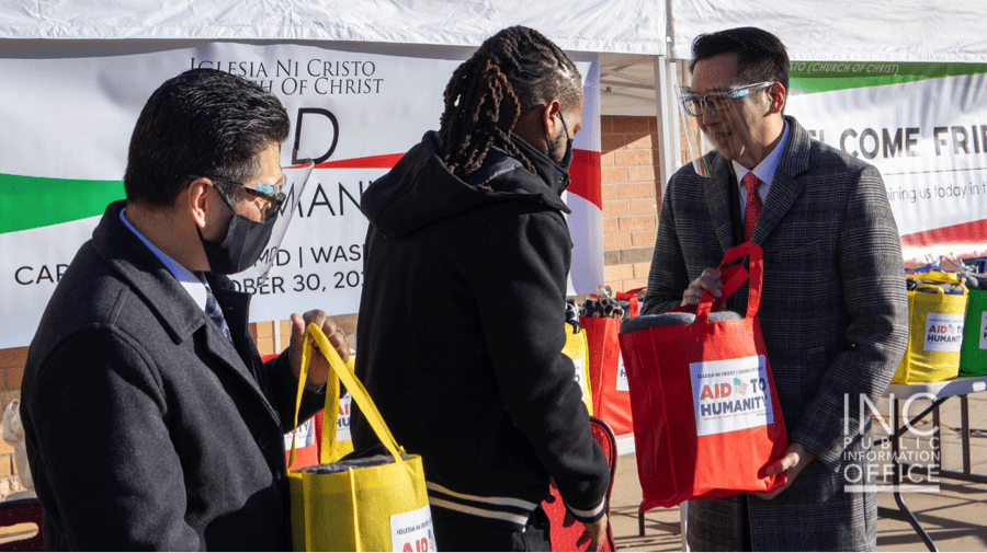 Ministers from the Iglesia Ni Cristo (INC) or Church Of Christ handing out care packages to Maldon Foundation during Aid to Humanity event, held on October 30, 2020.