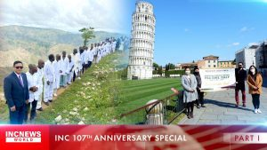 On the left, a man in glasses followed by a line of people wearing white stand and pose on a grassy mountain; on the right, a group holding a tarpal banner stand in front of the Tower of Pisa.