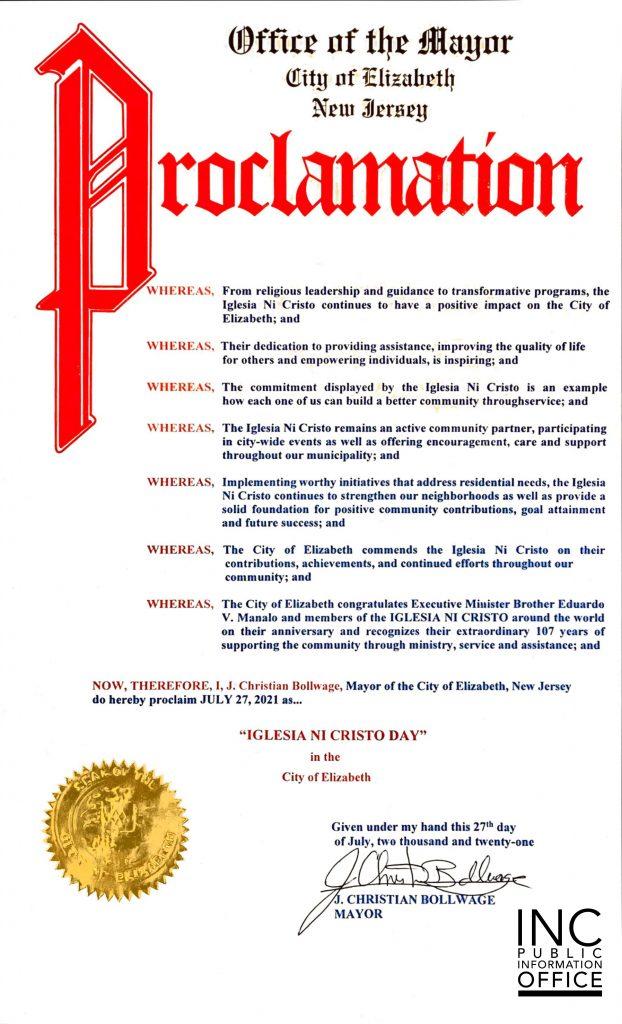 "Proclamation from Elizabeth City, New Jersey Mayor J. Christian Bollwage, declaring July 27, 2021 as ""IGLESIA NI CRISTO DAY""."