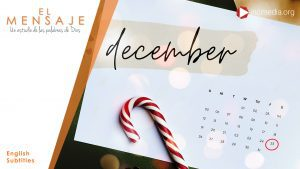 Calendar with candy cane on top show the date in script December and the number 25 encircled with red marker