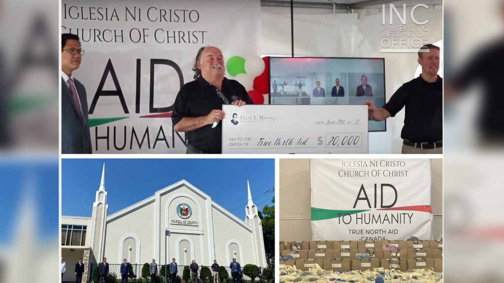 A collage of photos from the Aid to Humanity event for True North Aid Foundation, showing Indigenous Advisor and Board Member Mr. Kim Sigurdson and the Executive Director, Kenneth Smid, accepting a cheque for 20,000 Canadian dollars, 100 packages of school supplies, school bags, beddings, blankets and pillows, and a group photo in front of the Toronto congregation's house of worship.