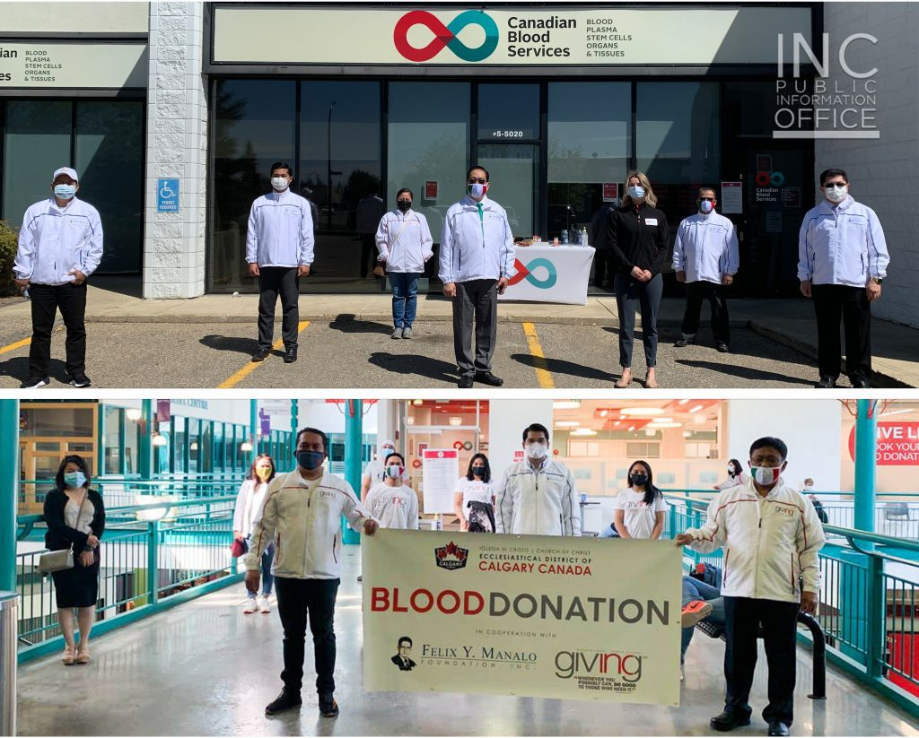 Iglesia Ni Cristo (INC or Church Of Christ) ministers and members pose for 2 group photos in front of blood donation centers in the province of Alberta.