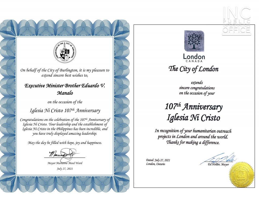 Two official letters from the mayors of Burlington and London, Ontario, greeting and congratulating the Iglesia Ni Cristo (INC or Church Of Christ) on reaching its 107th anniversary.