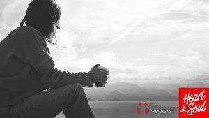Woman reflecting alone