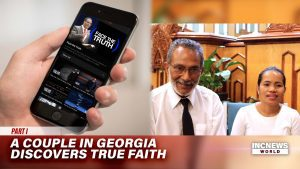 On the left, a phone showing an online show 'Face the Truth', on the right, a couple sitting down are smiling.