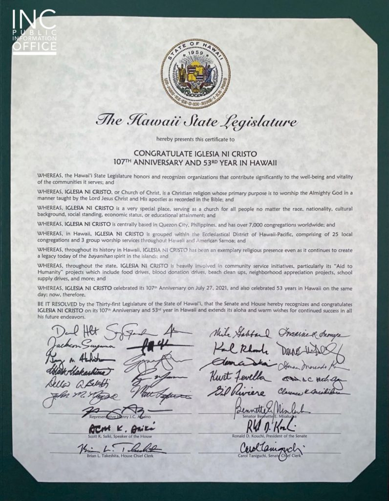 Honorary Certificate from the Hawaii State Legislature congratulating the Iglesia Ni Cristo (INC) on its 107th Anniversary and 53rd year in Hawaii